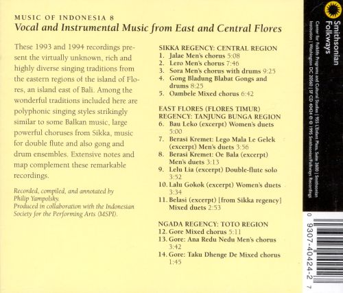 Music of Indonesia, Vol. 8: Vocal and Instrumental Music from Eas