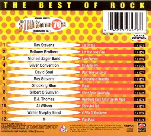 Number 1 Hits of the 70's, Vol. 1