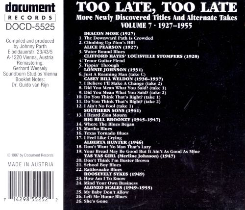 Too Late, Too Late Blues, Vol. 7