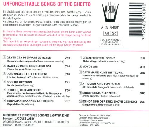 Unforgettable Songs of the Ghetto