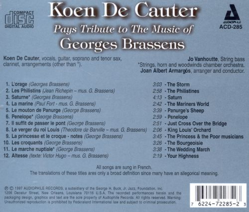 Pays Tribute to the Music of Georges Brassens