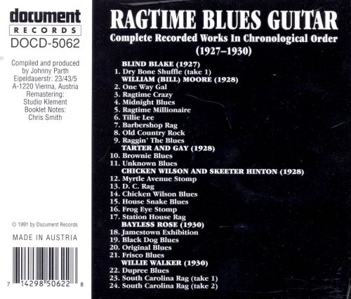 Ragtime Blues Guitar (1927-1930)