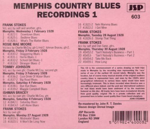 Memphis Country Blues Recordings, Vol. 1
