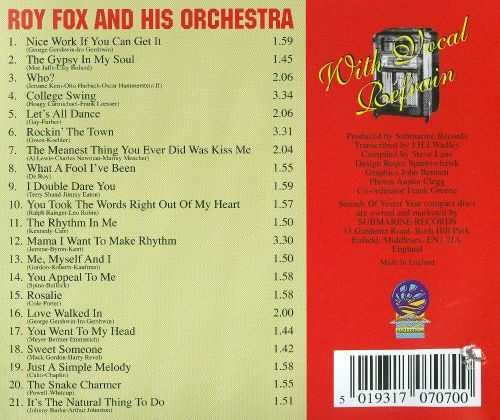 Roy Fox and His Orchestra with Vocal Refrain