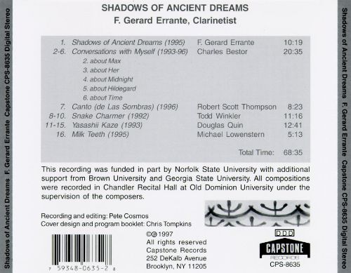 Errante: Shadows Of Ancient Dreams/Bestor: Conversations With Myself/Thompson: Canto/Winkler: Snake Charmer/Quin: Yas