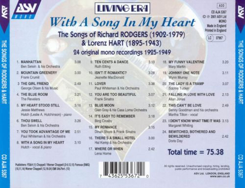 With a Song in My Heart: The Songs of Rodgers & Hart