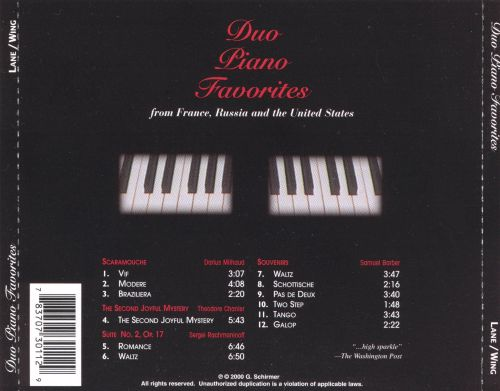 Duo Piano Favorites from France, Russia, And The United States