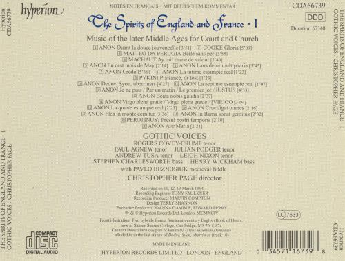 The Spirits of England and France, Vol. 1: Music of the Later Middle Ages for Court and Church