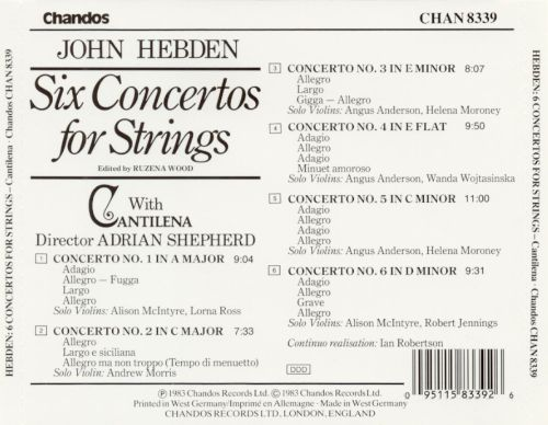 John Hebden: Six Concertos for Strings