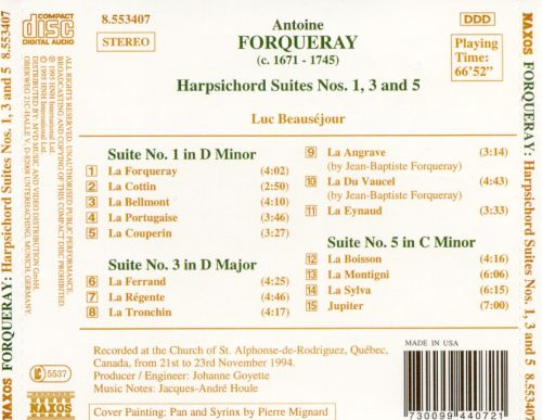 Forqueray: Harpsichord Suites Nos. 1, 3 and 5