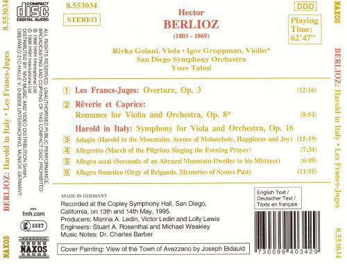 Berlioz: Harold in Italy; Les Francs - Juges; Rêverie et Caprice