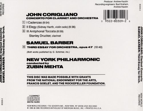 barber clarinet concerto corigliano essay john orchestra samuel third The concerto for piano and orchestra is a piano concerto by the american composer john corigliano clarinet concerto (corigliano) the piece is dedicated to the composer samuel barber.