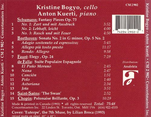 Kristine Bogyo Performs Beethoven, Chopin, de Falla, Fauré and others