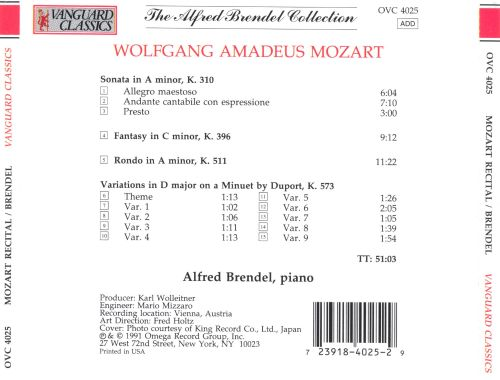 Mozart: Sonata in A minor K310; 9 Variations on a Minuet by Duport; Rondo in A minor K511; Fantasy in C minor K296