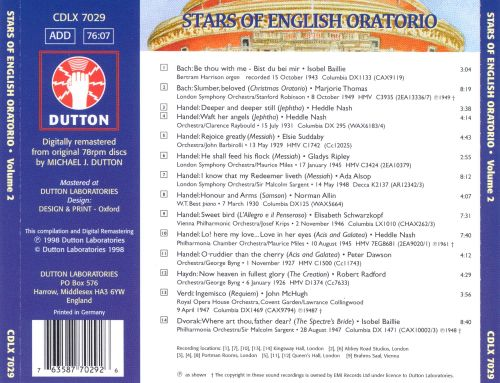 Stars of English Oratorio, Vol. 2