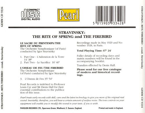 Igor Stravinsky: The Rite Of Spring; The Firebird