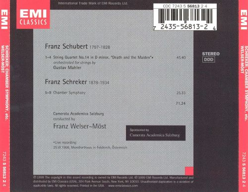 Schubert: Death & The Maiden; Schreker: Chamber Symphony