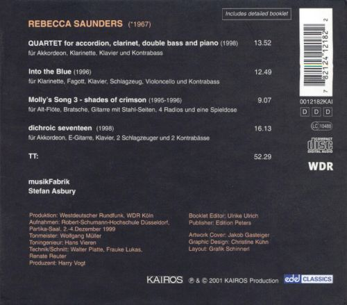 Rebecca Saunders: Quartet; Into the Blue; Molly's Song 3; Dichroic Seventeen