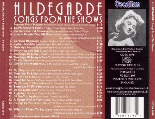 Hildegarde: Songs from the Shows