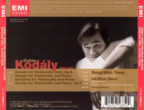 Kodály: Music for Cello and Piano