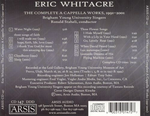Eric Whitacre: The Complete A Cappella Works, 1991-2001