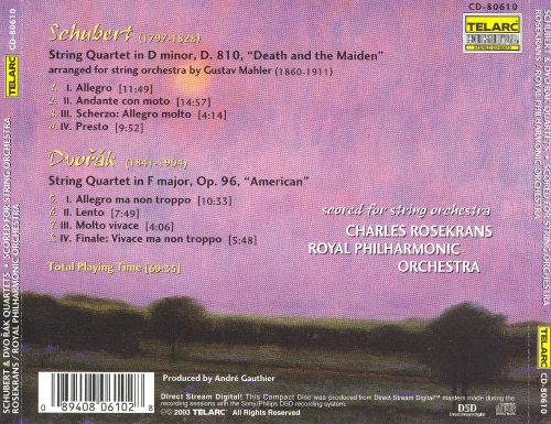 Schubert: Death and the Maiden; Dvorák: American (Scored for String Orchestra)