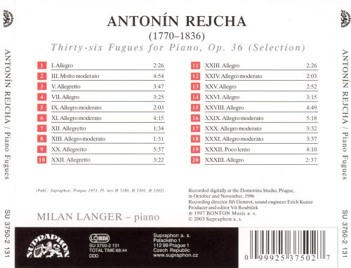 Antonín Rijcha: Fugues for piano