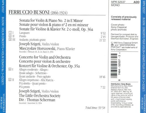 Busoni: Sonata for Violin & Piano No. 2 in E minor; Concerto for Violin & Orchestra, Op. 35a