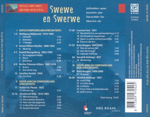 Swewe en Swerwe: Poetical Songs about and from South Africa