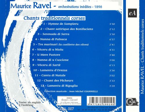 Maurice Ravel: Orchestrations Inédites 1896 - Chants traditionnels corse