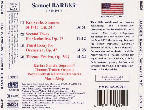 Samuel barber first essay for orchestra score