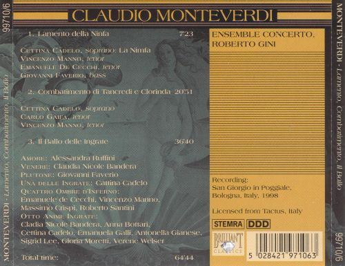 """monteverdis lamento della ninfa compositional Giulio cesare monteverdi  """"lamento della ninfa"""" –has nymph's lament  middle ones lose functionality and are less important in compositional."""
