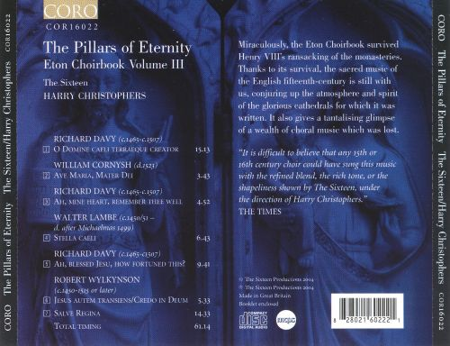 The Pillars of Eternity: Music from the Eton Choirbook, Vol. 3