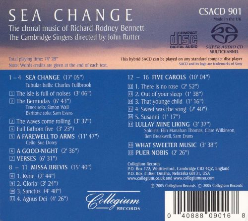 Sea Change: The Choral Music of Richard Rodney Bennett