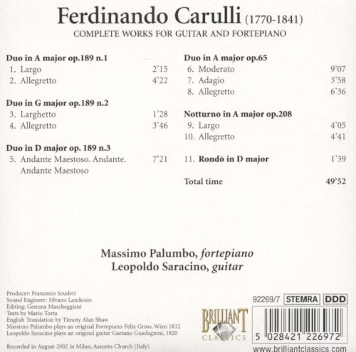 Carulli: Complete Works for Guitar & Fortepiano, CD 7