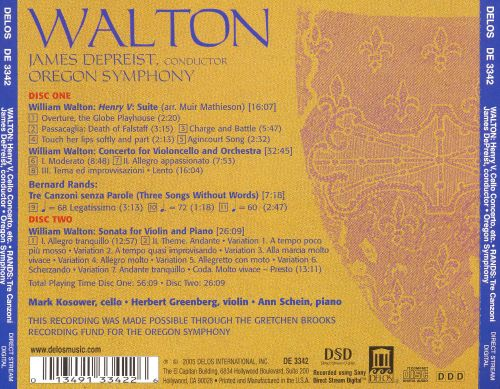 Walton: Suite from Henry V; Cello Concerto; Violin & Piano Sonata; Rands: Tre Canzoni Senza Parole