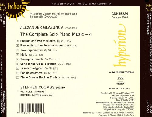 Glazunov: The Complete Solo Piano Music, Vol. 4