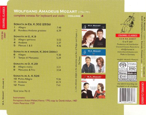 Mozart: Complete Sonatas for Keyboard & Violin, Vol. 4