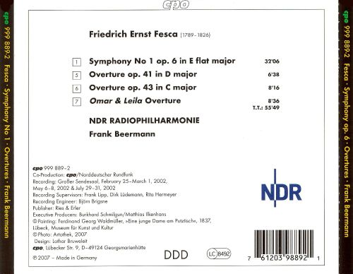Fesca: Symphony No. 1; Three Overtures