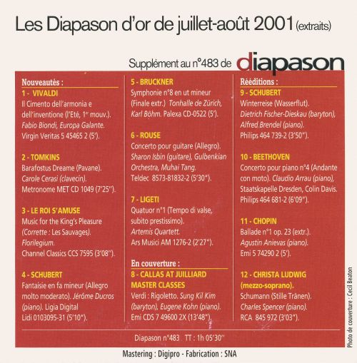 Various - Les Diapason D'Or D'Octobre 2001