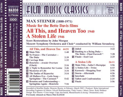Max Steiner's Classic Film Scores: All This and Heaven Too / A Stolen Life