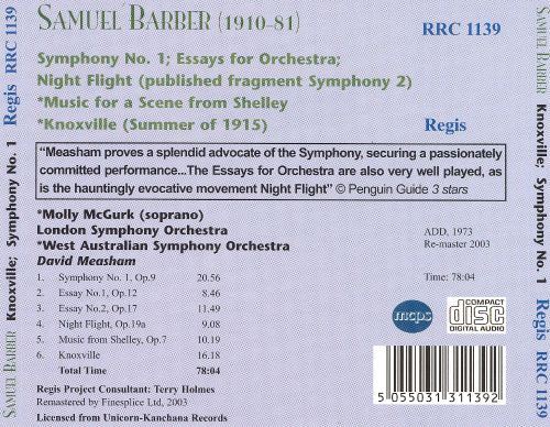Barber: Knoxville; Symphony No. 1; Essays for Orchestra; Night Flight; Scene from Shelly
