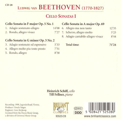 Beethoven: Cello Sonatas I