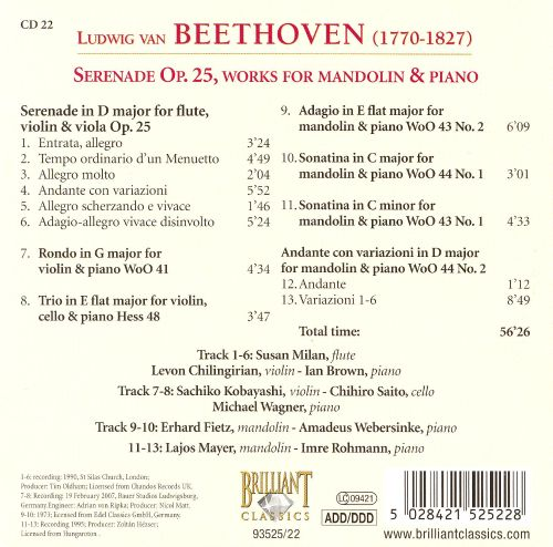 Beethoven: Serenade Op. 25, Works for mandolin & piano