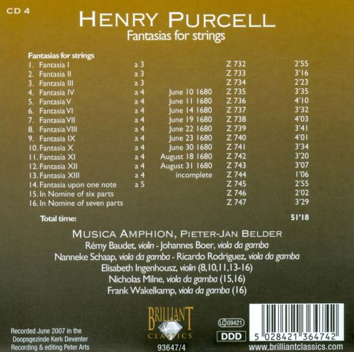 Purcell: Fantasias for strings