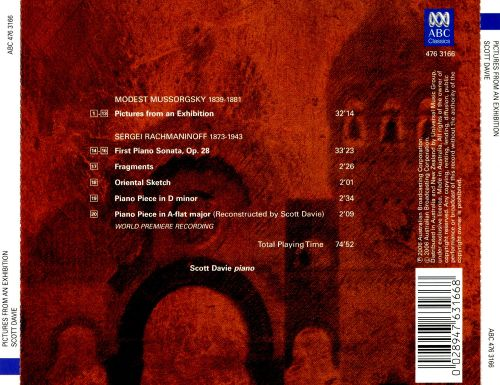 Mussorgsky: Pictures from an Exhibition; Rachmaninoff: First Piano Sonata; Fragments; Etc.,