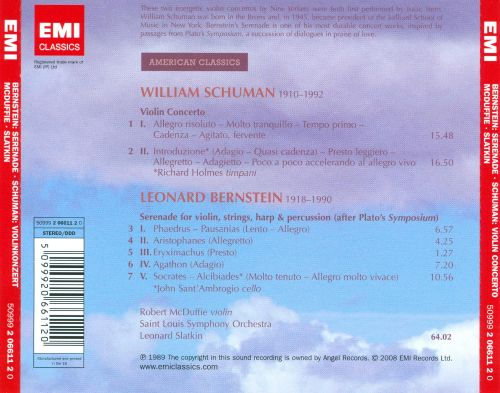 Leonard Bernstein: Serenade; William Schuman: Violin Concerto