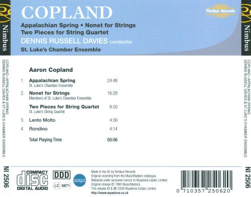 Copland: Appalachian Spring; Nonet for Strings; Two Pieces for String Quartet