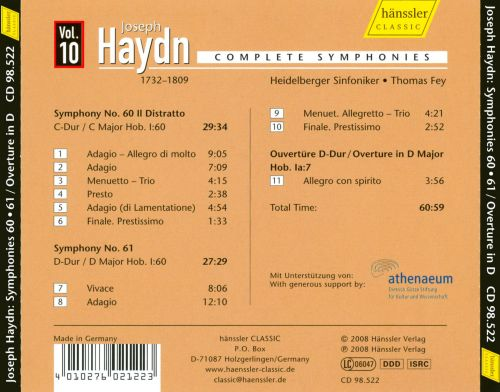 Haydn: Symphonies No. 60 and No. 61; Overture in D