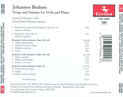 Brahms: Songs and Sonatas for Viola & Piano
